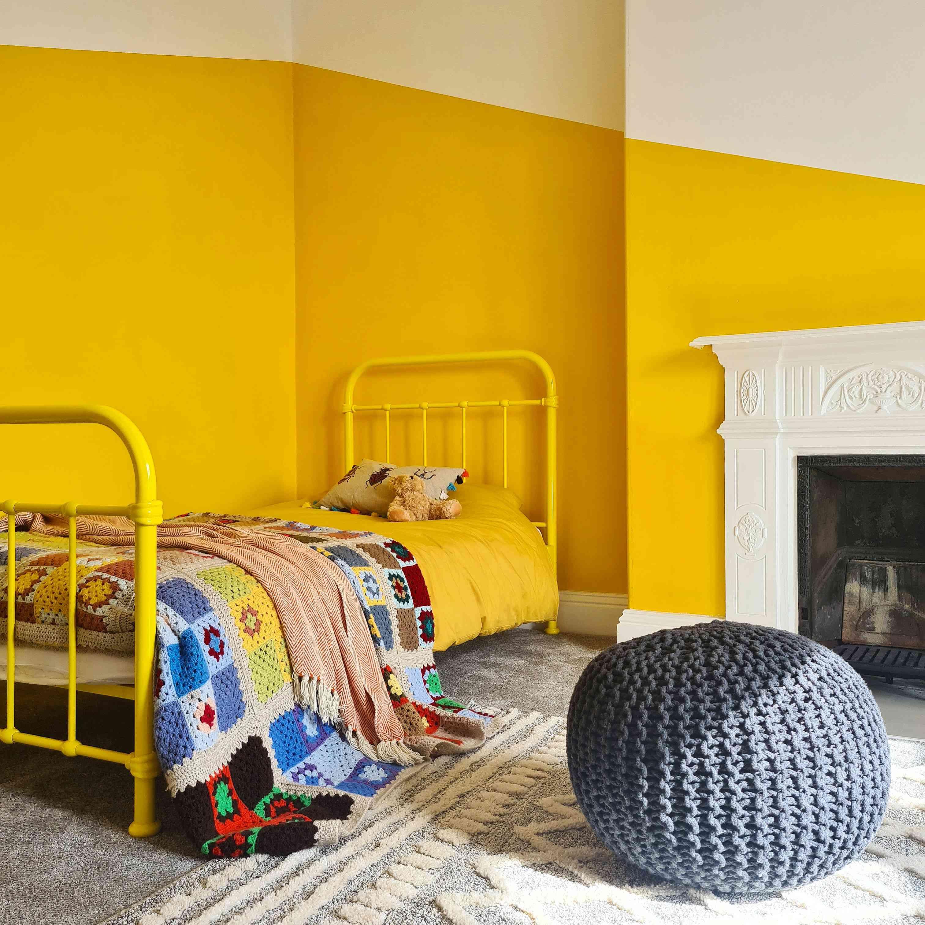 Yellow color block bedroom
