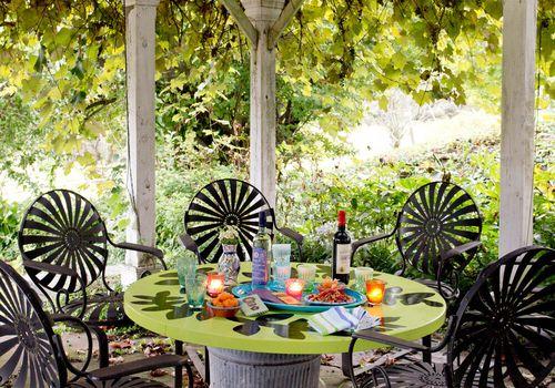 Wrought iron outdoor furniture set.