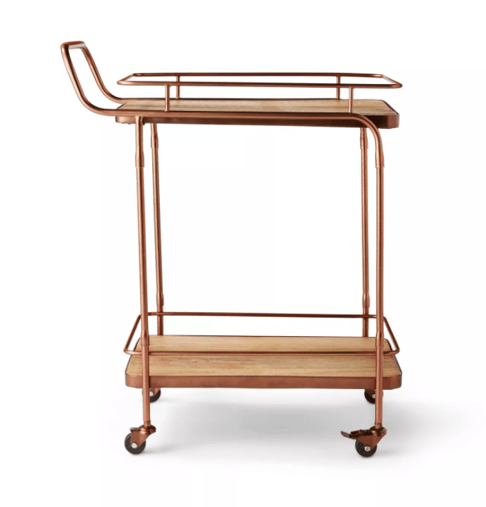 Metal and Wood Bar Cart Aged Copper Finish