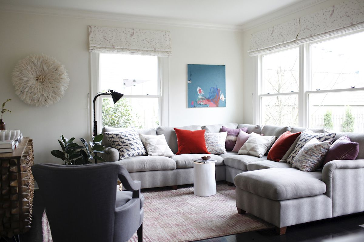 Living room with striped couch