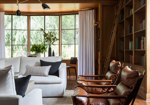 Library room with wood paneling and modern finishes