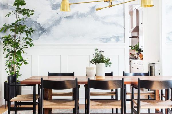 Bright and modern dining room with house plants