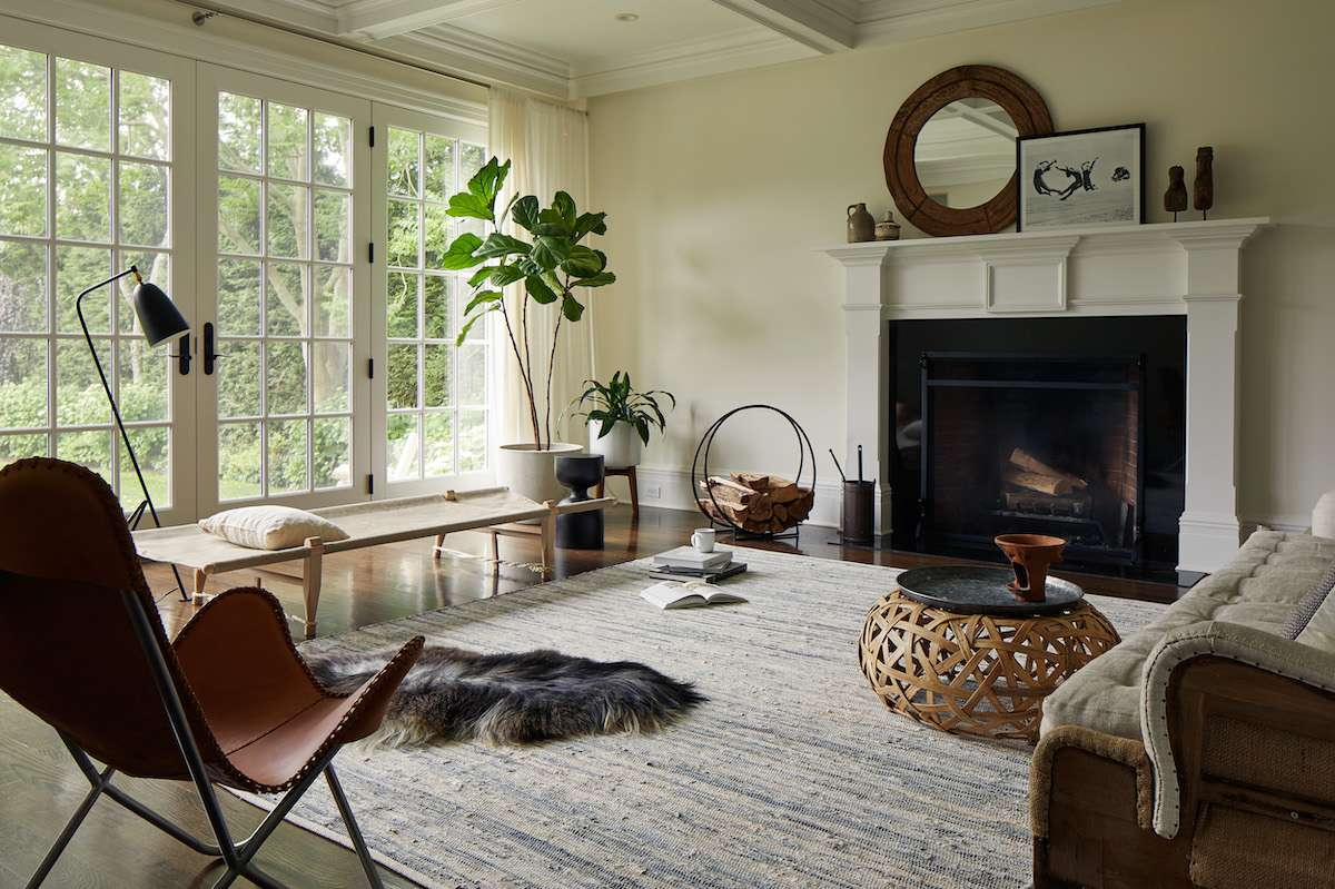 Modern living room with natural elements