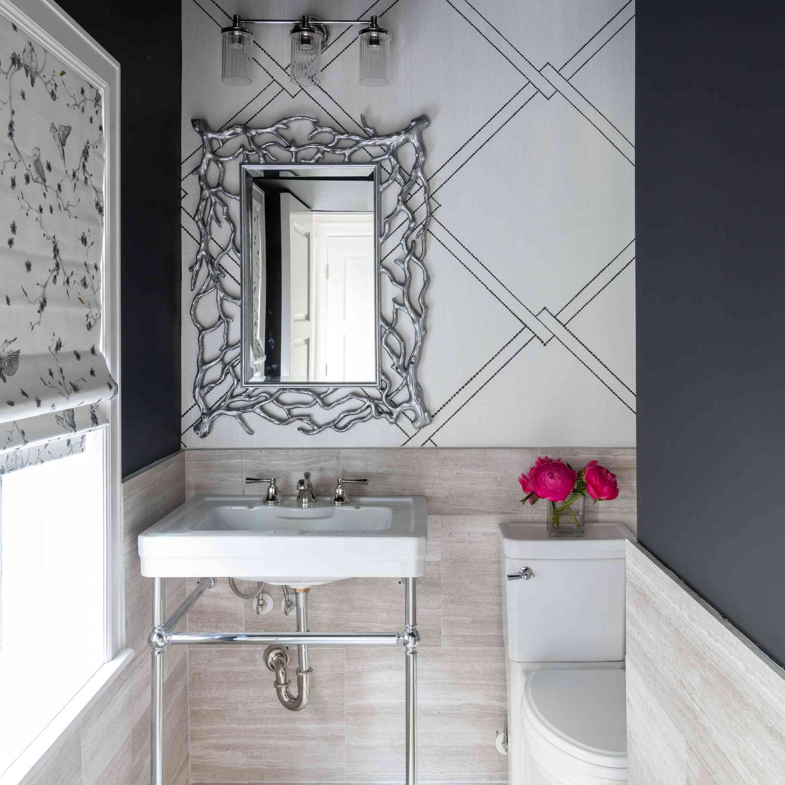 Modern-glam tiled half bathroom