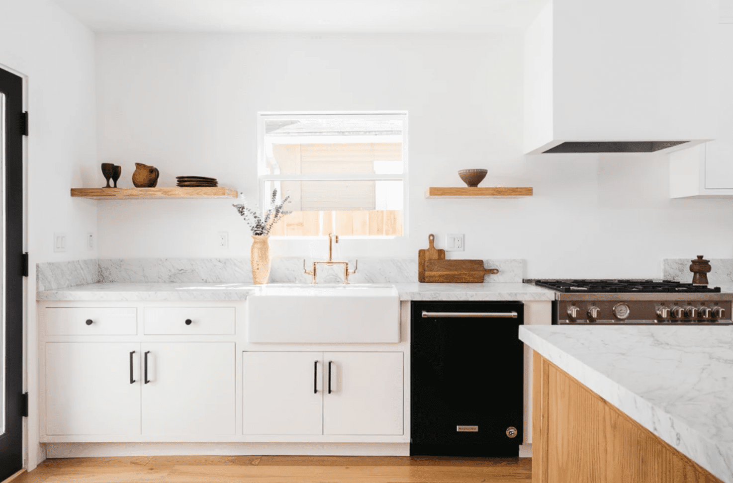A minimalist kitchen filled with rustic wooden accents