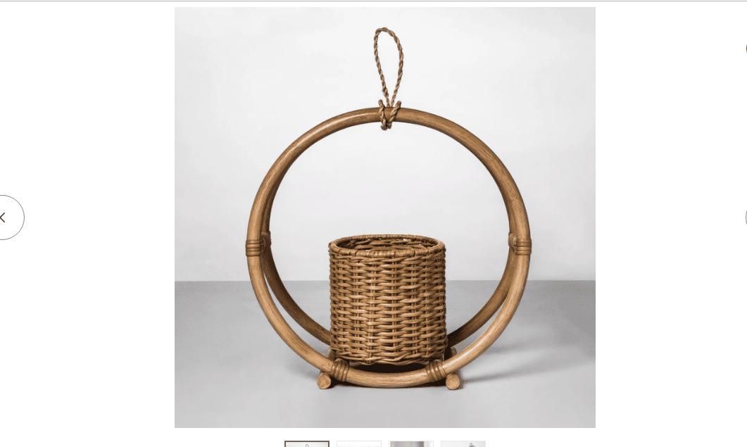 Round Rattan Hanging Planter