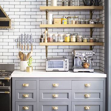 Having A Moment Blue Grey Kitchen Cabinets