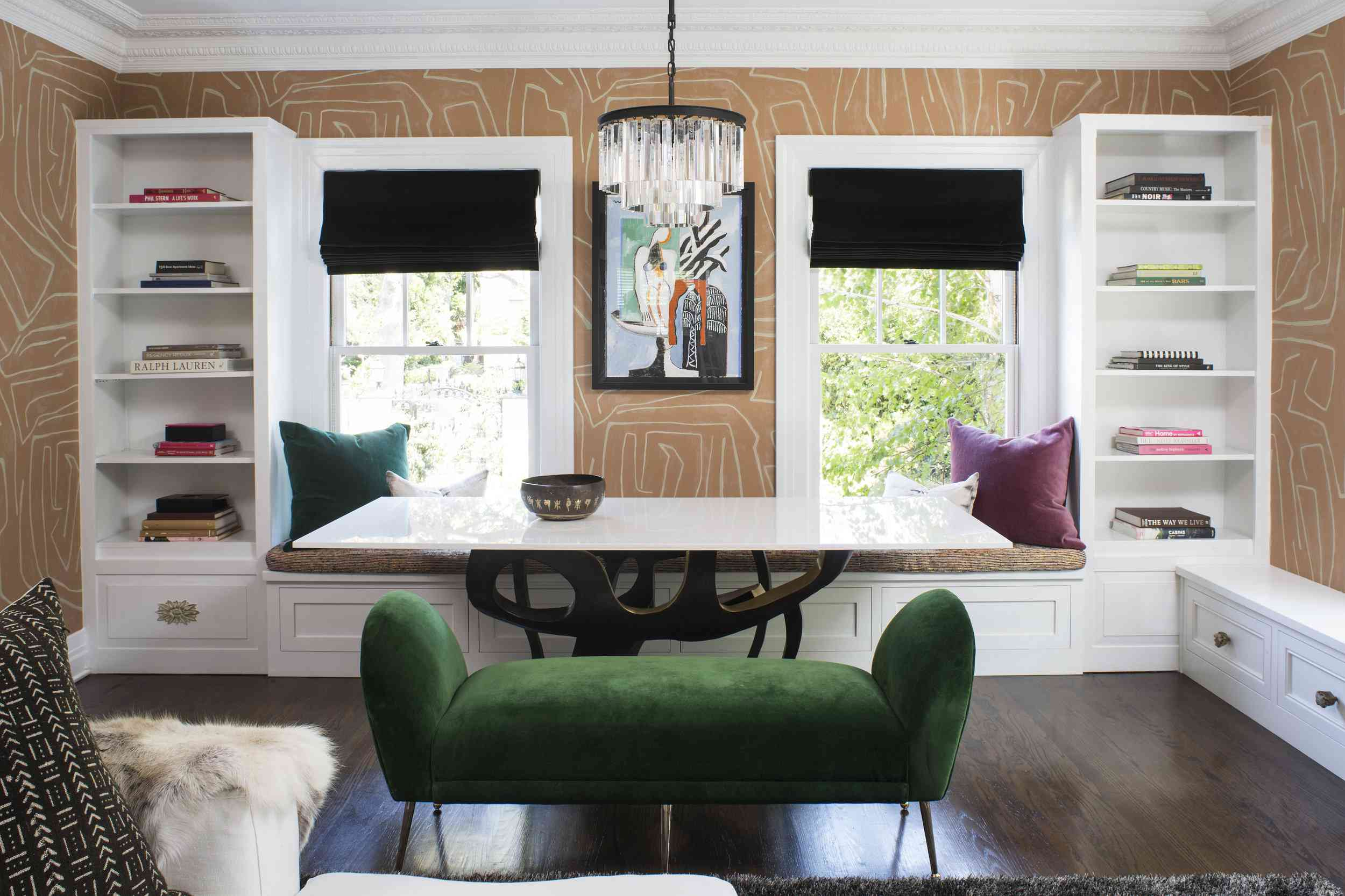 Tan room with green and black accents