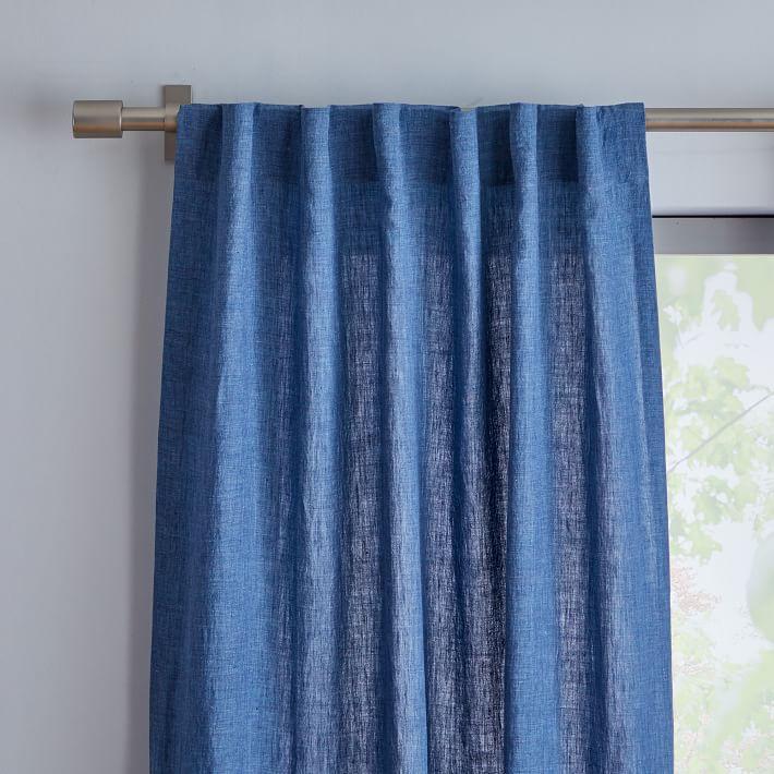 Belgian Flax Linen Curtain in Indigo Blue