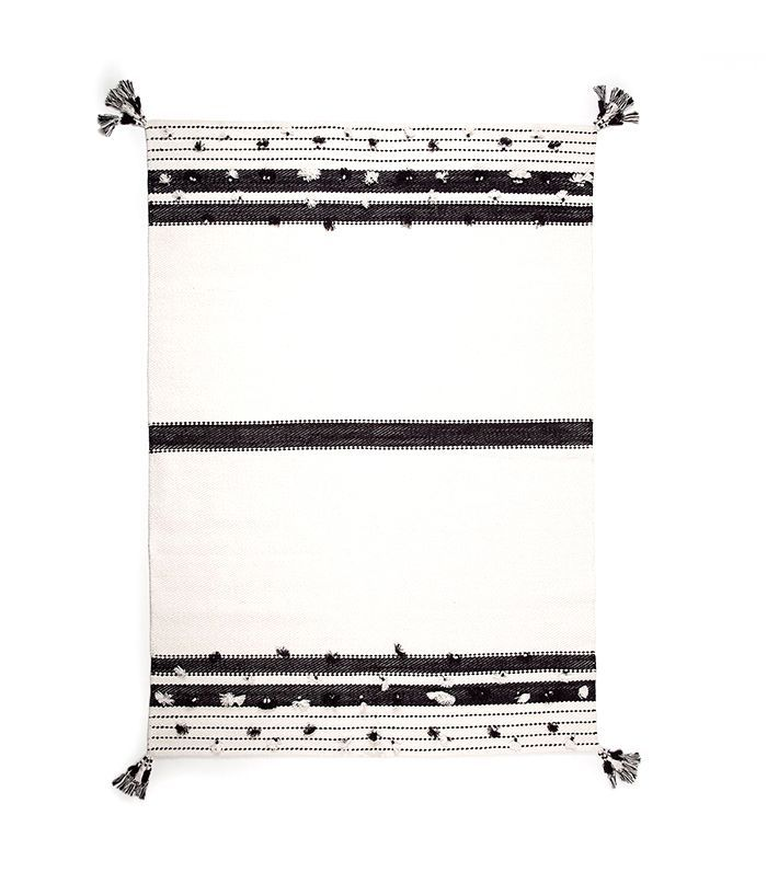 Zara Home Cotton Rug With Black and White Pompoms