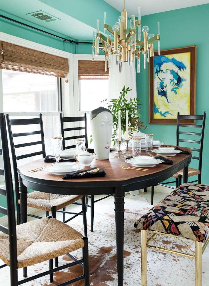 Bright green dining room.