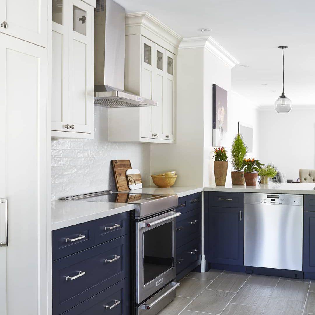 Navy and white kitchen