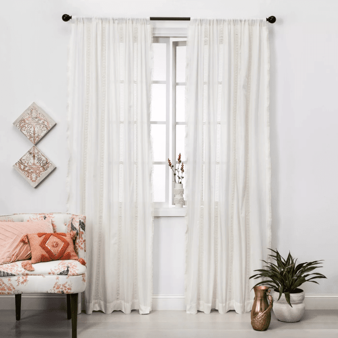 Lace Trim Light Filtering Curtain Panel - Opalhouse