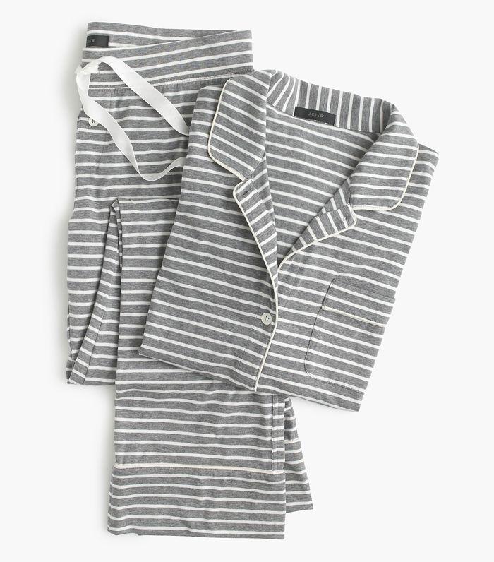 J. Crew Dreamy Cotton Pajama Set in Stripe
