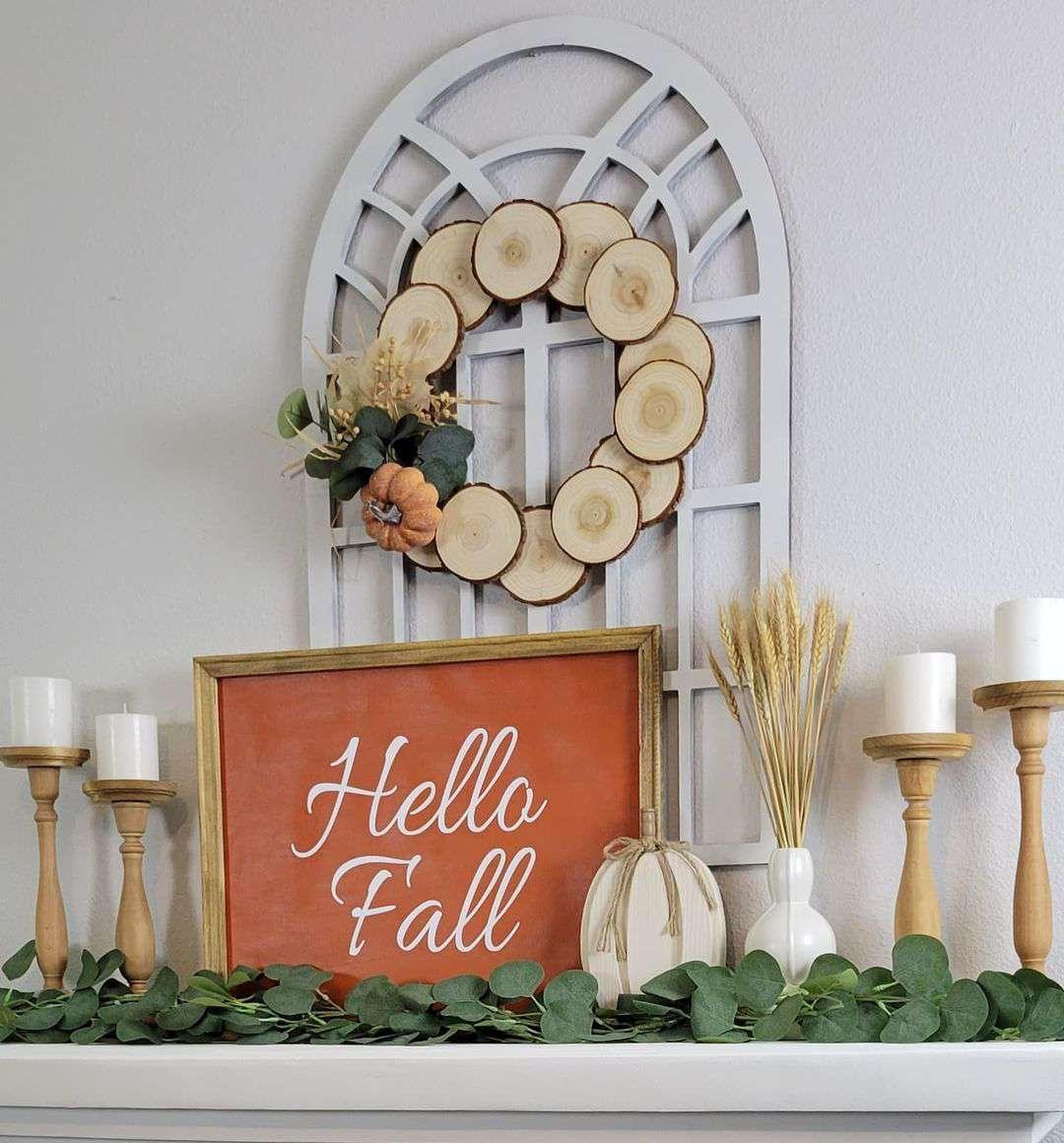 wood fall wreath
