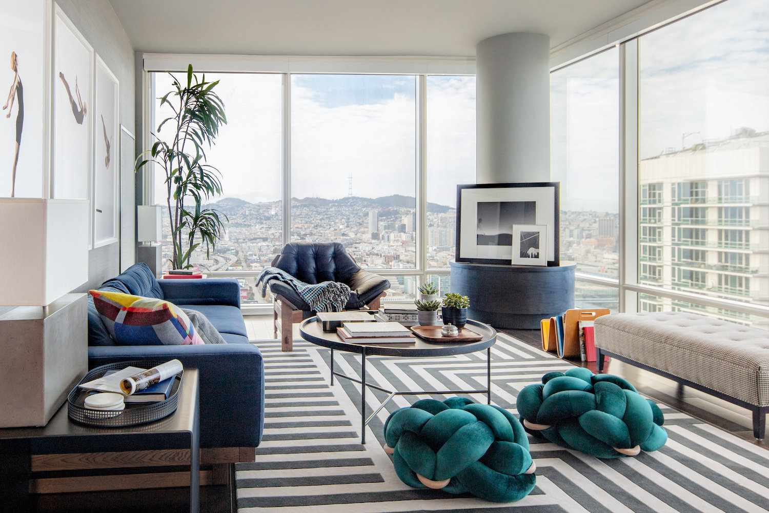 Bachelor pad with blue accents