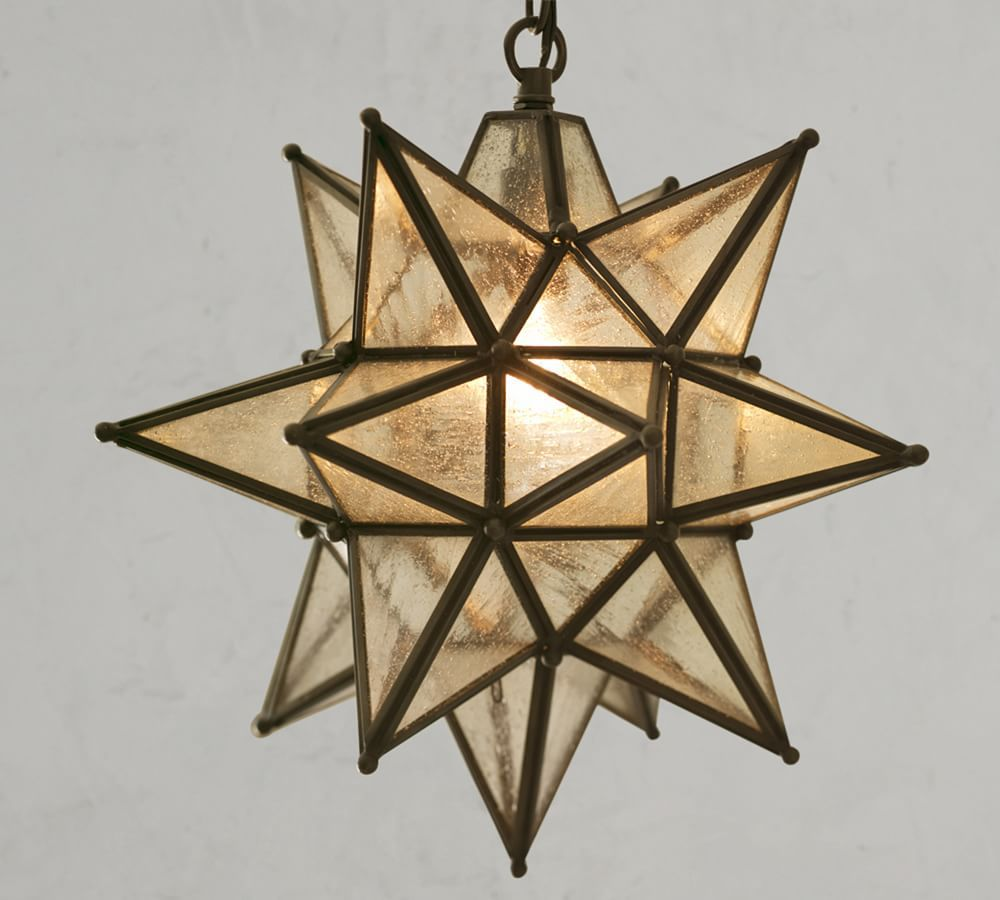 A star-shaped outdoor chandelier, currently for sale at Pottery Barn
