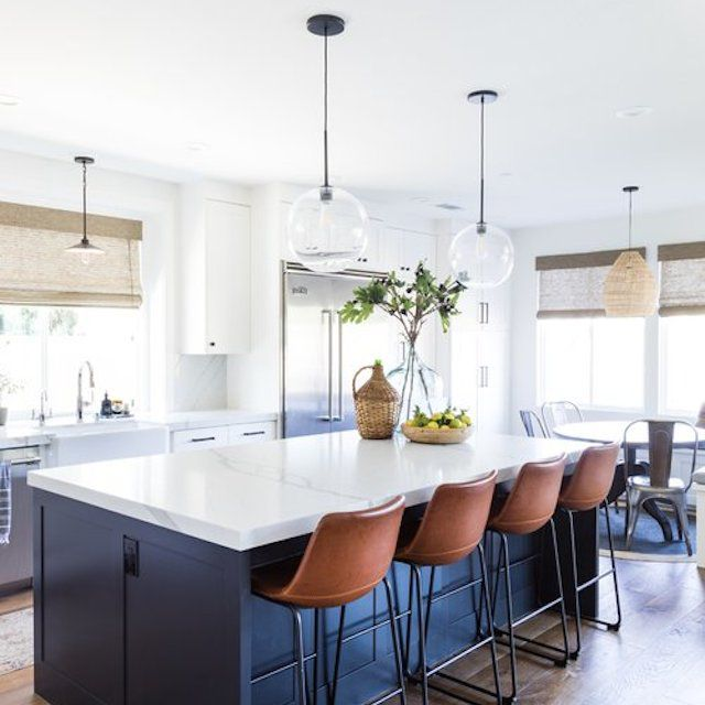 navy kitchen island
