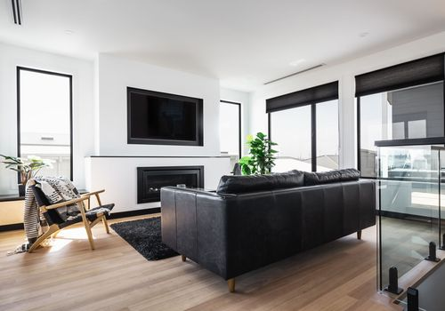 living room with black sofa