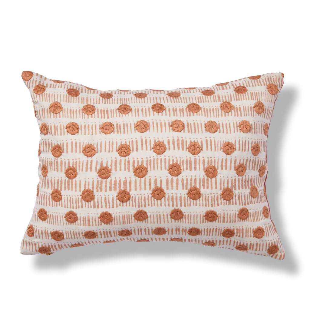 Rebecca Atwood Dot Dash Pillow in Blush/Tangerine