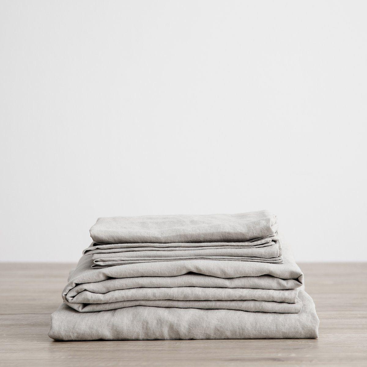 Linen Sheet Set With Pillowcases - Smoke Gray