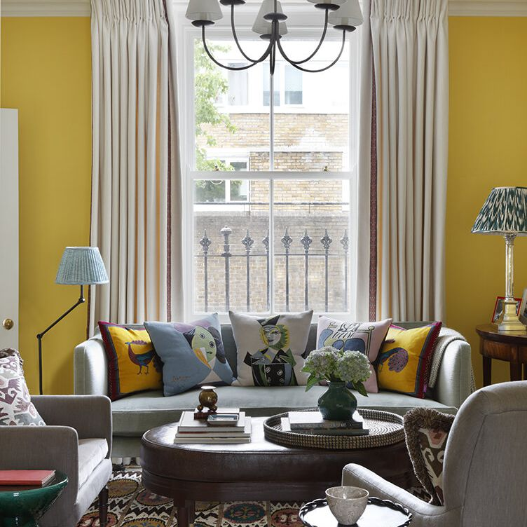 Living room with linen curtains