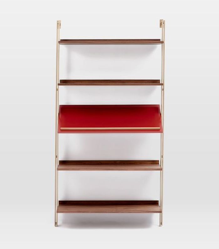 Linden Mid-Century Wide Angled Shelf Unit - Walnut/Cranberry Lacquer