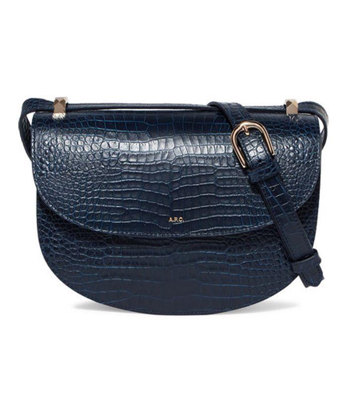 Geneve Croc-effect Leather Shoulder Bag