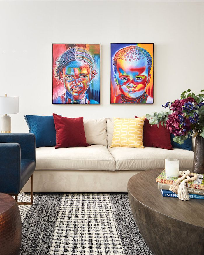 living room using primary colors