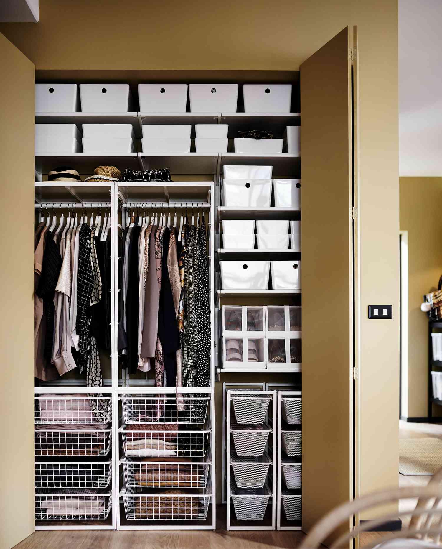 Closet with mesh storage built ins.