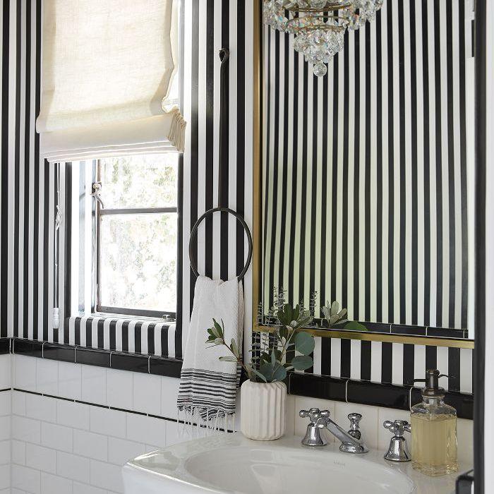 Shay Mitchell—monochrome bathroom