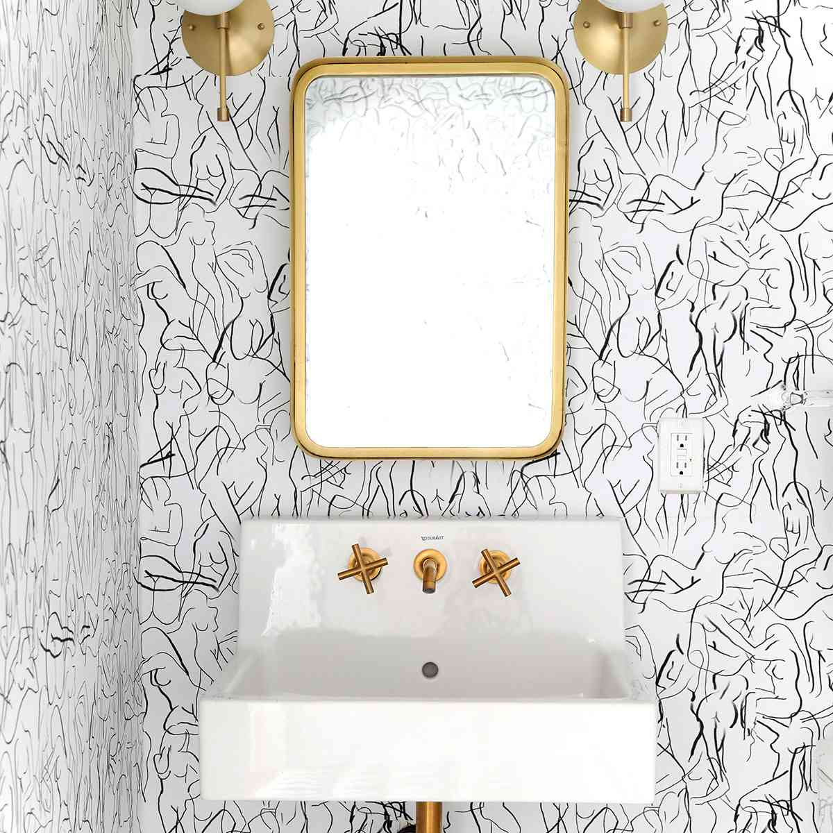 Bathroom with body wallpaper