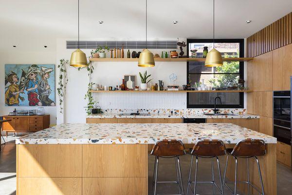 Terrazzo kitchen countertop and island.
