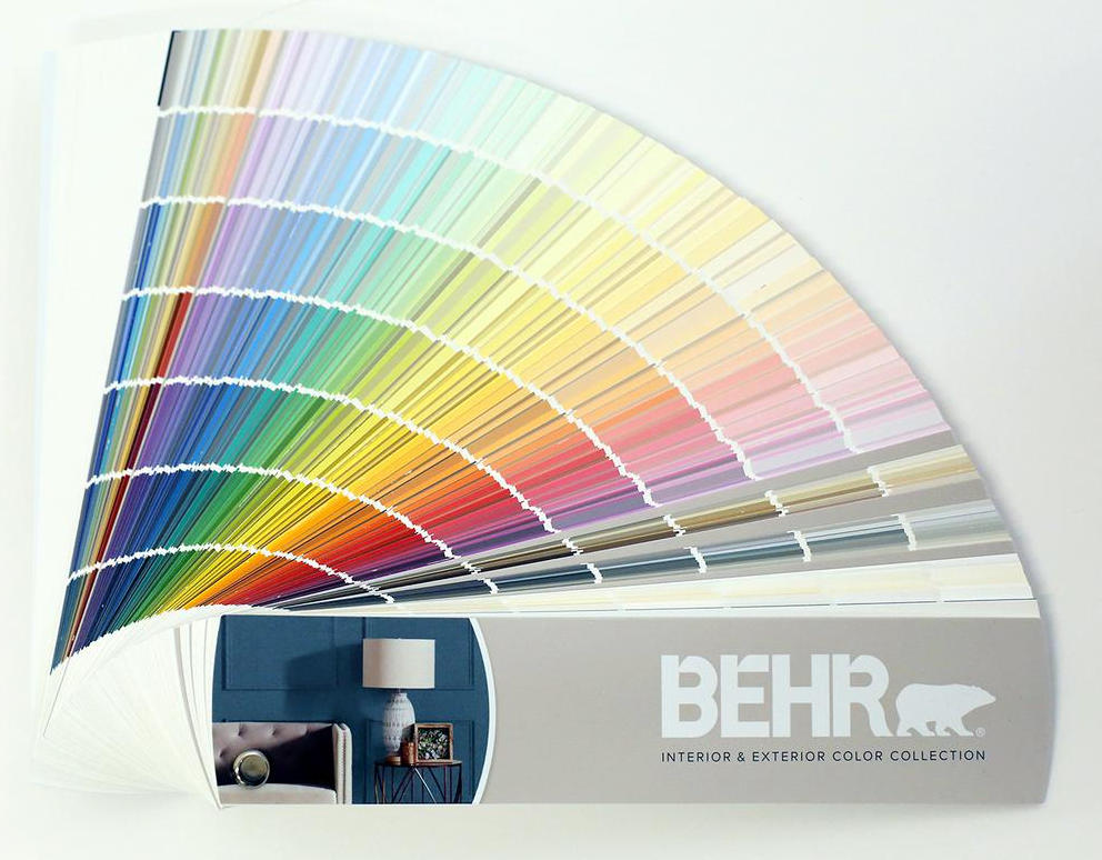 A paint swatch fan book, currently for sale at Home Depot