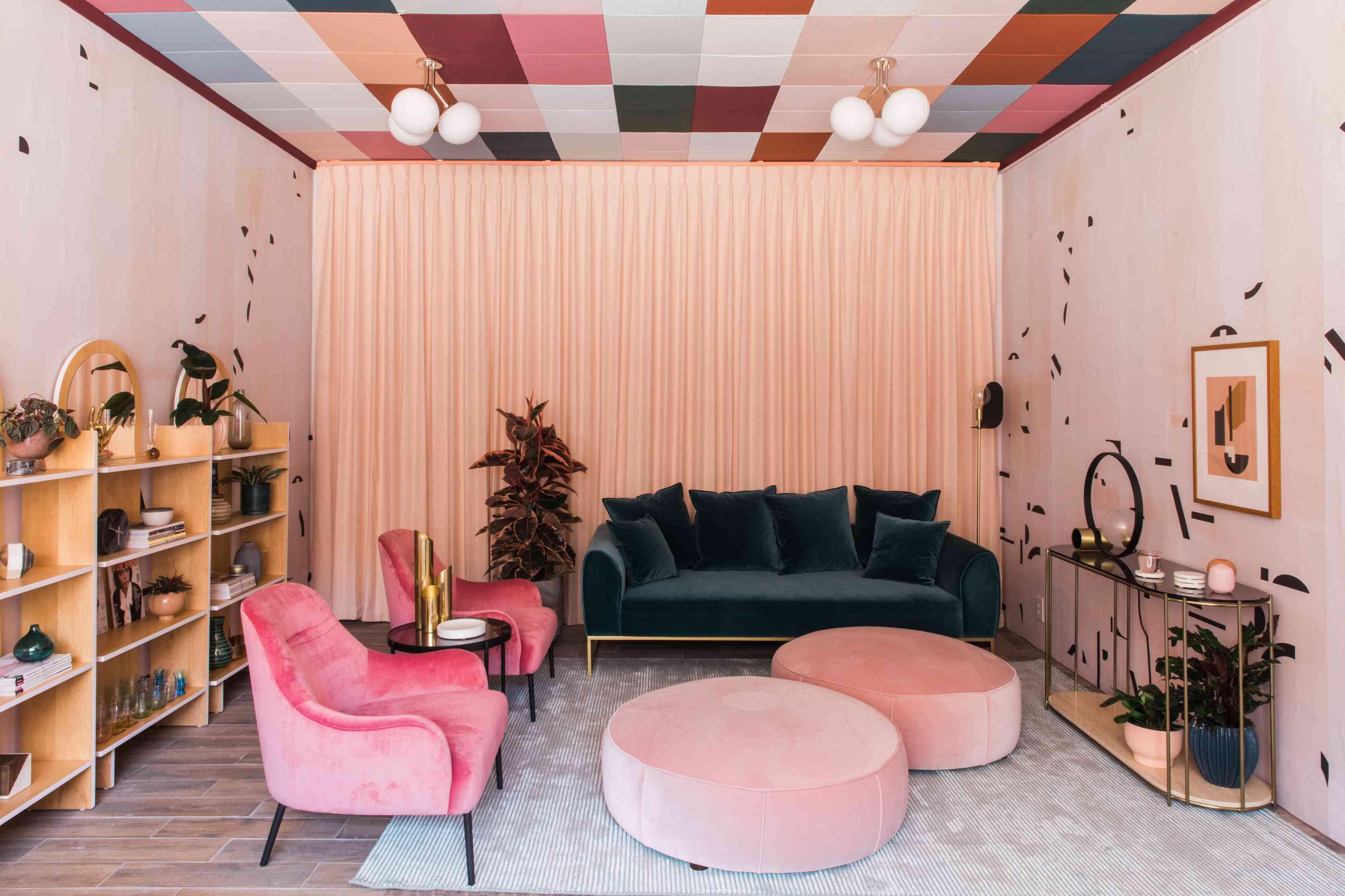 Bright bold living room with velvet furniture