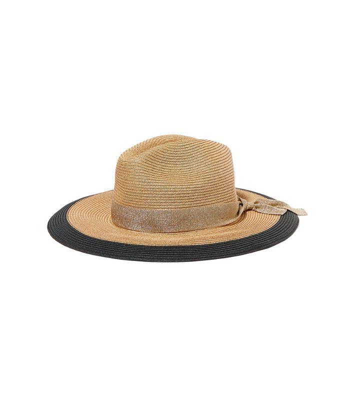 Eres Jo Grosgrain-Trimmed Woven Paper Hat