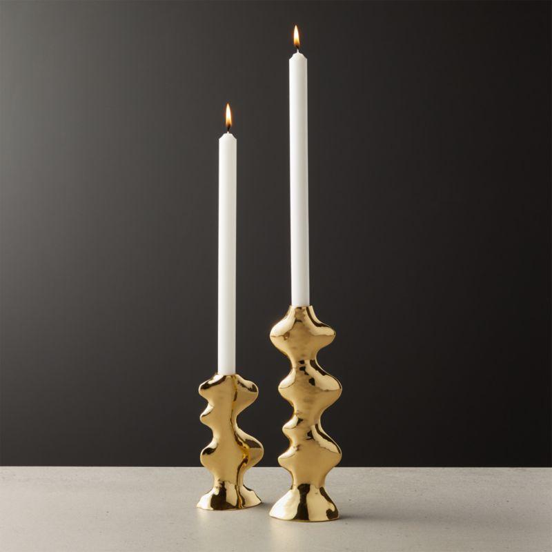Waves Tapper Brass Candle Holder