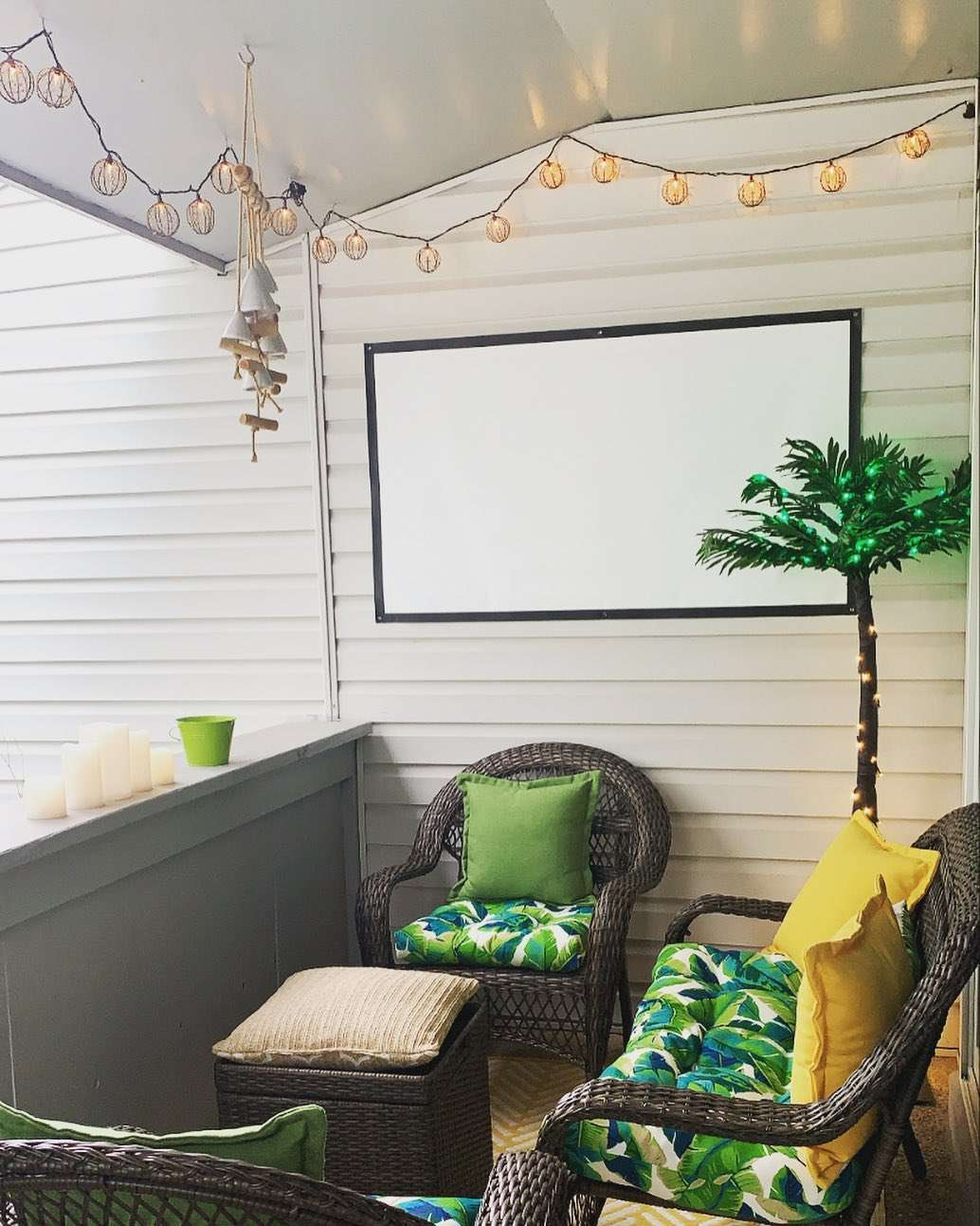 Patio with projector