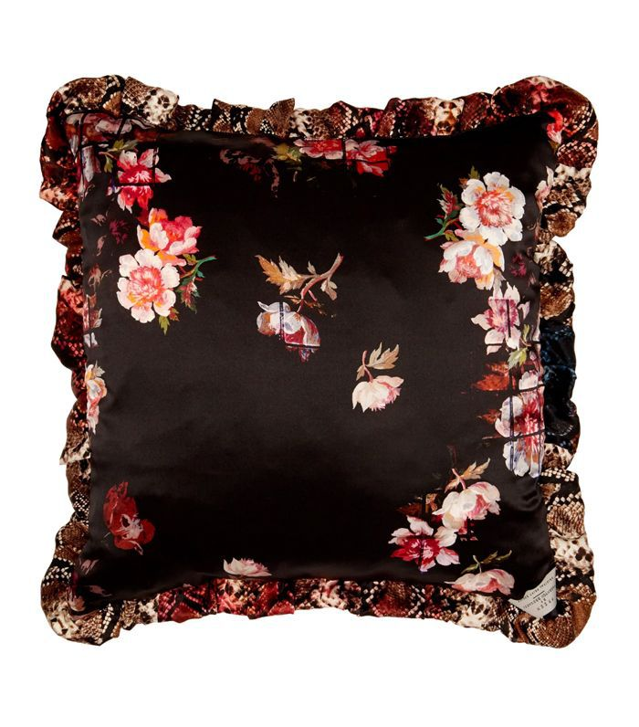 Flora and snakeskin-printed silk cushion
