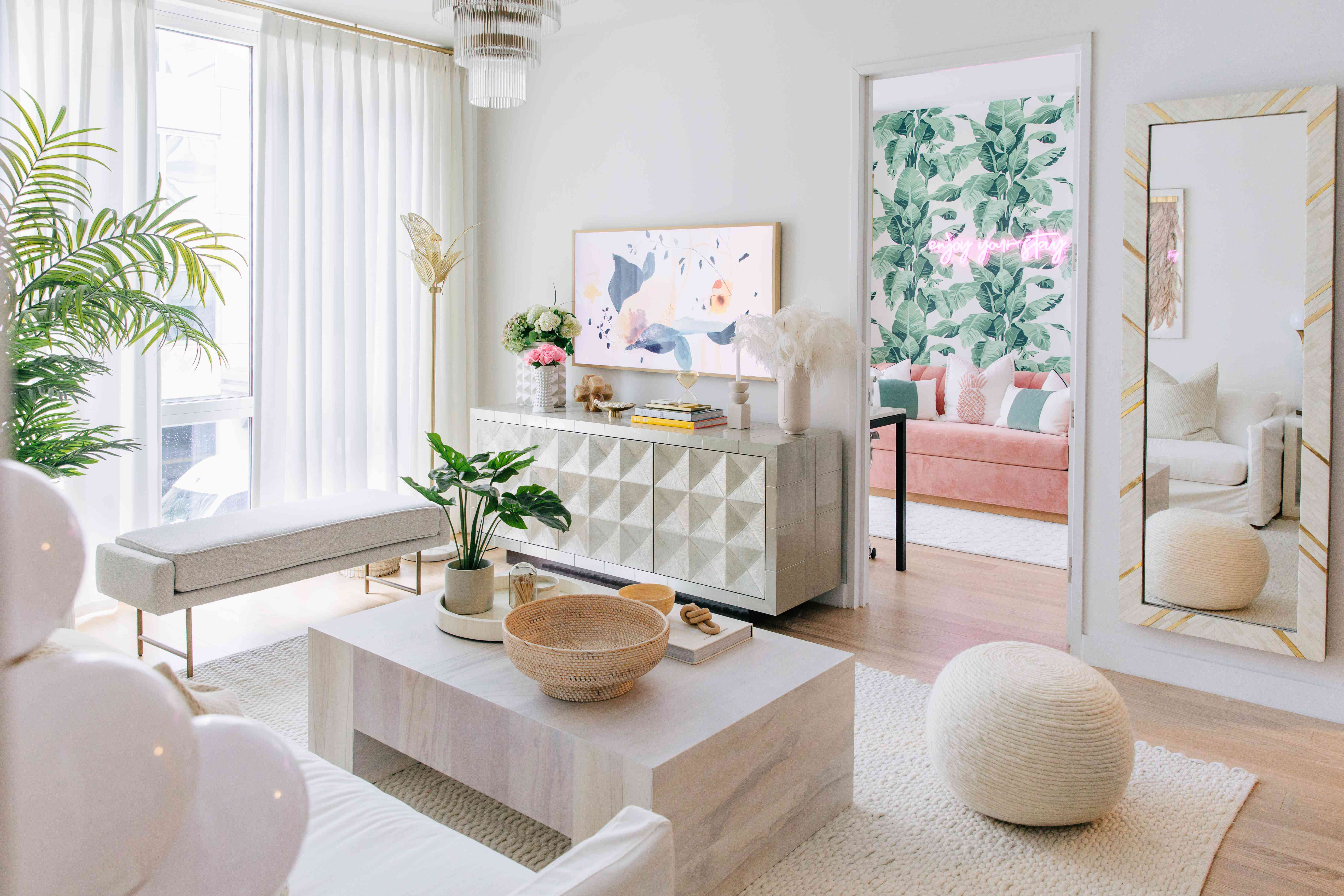 Neutral living room with 80s inspired pops of color.