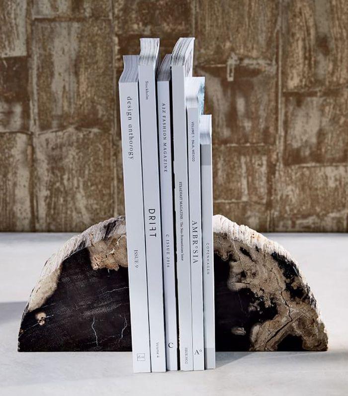 West Elm Petrified Wood Bookends 79
