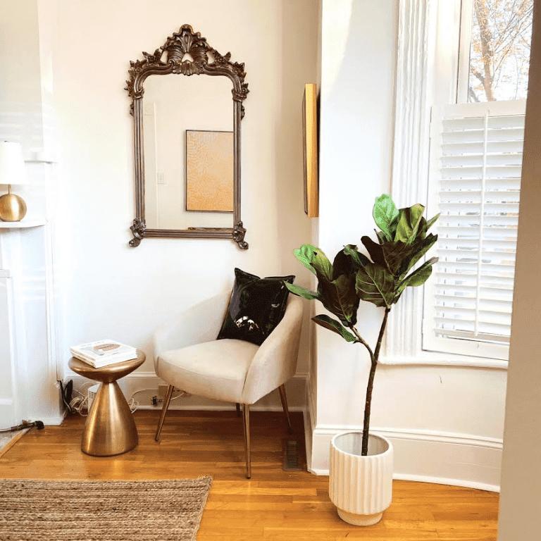 White modern armchair next to plant.