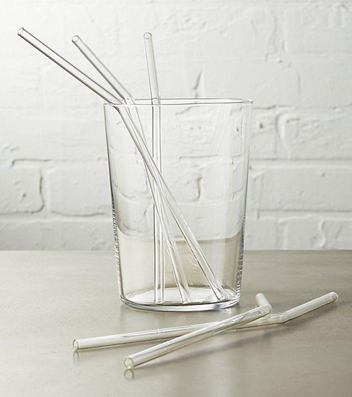 set of 8 glass straws