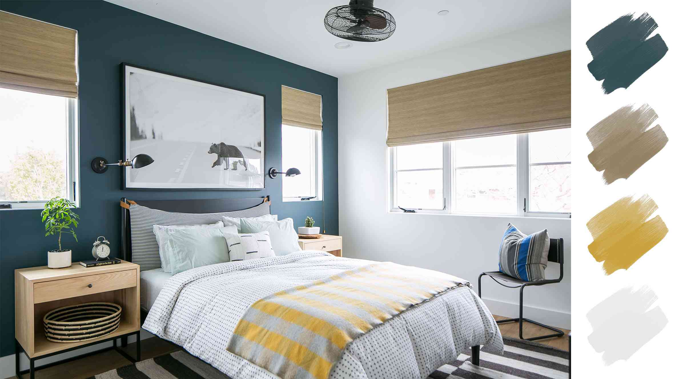 bedroom color schemes - navy white yellow