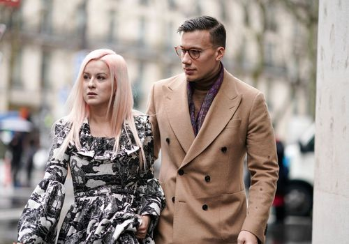 Couple Walking Paris Fashion Week