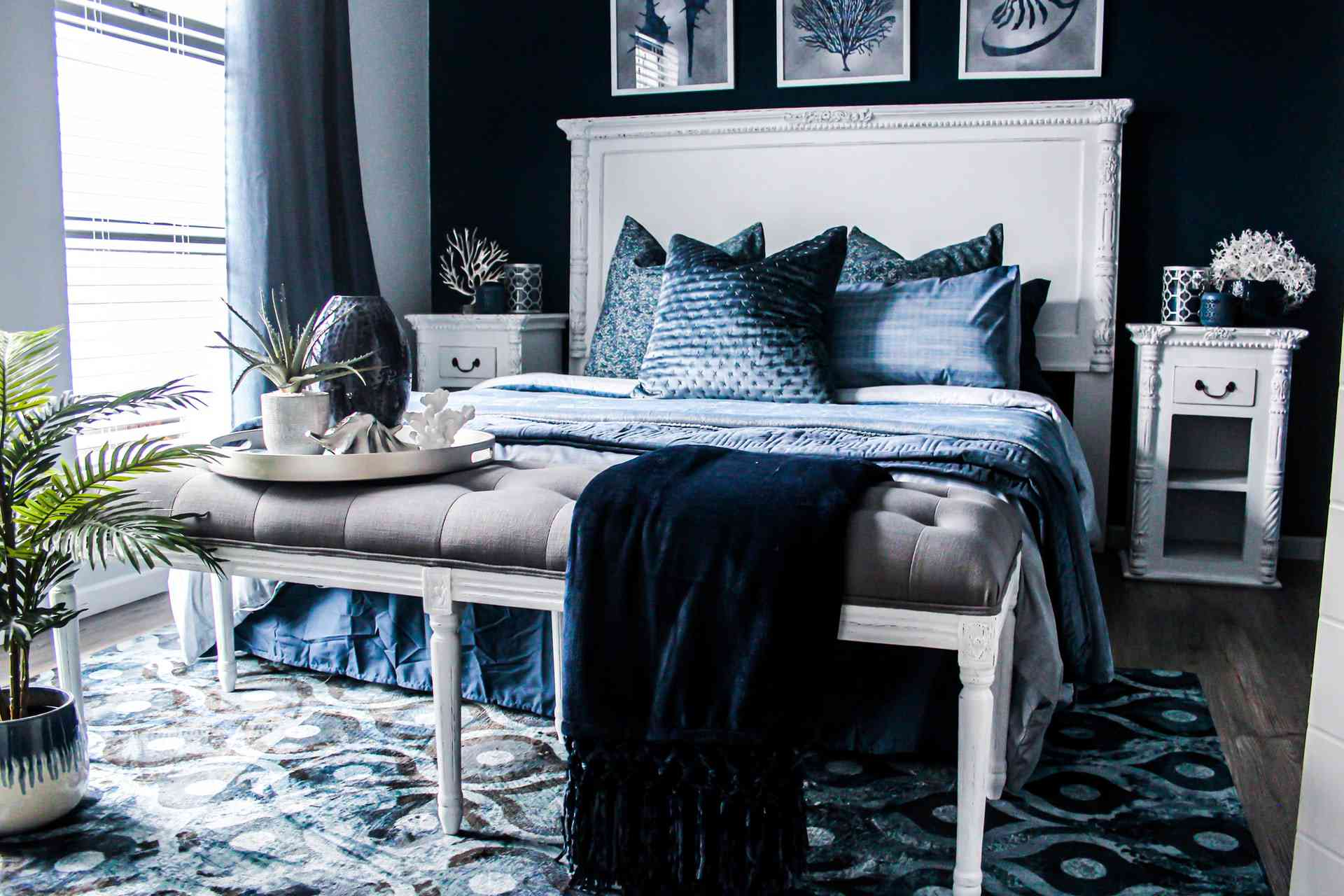 blue cool-toned bedroom