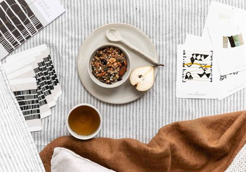 inner compass cards with coffee and breakfast