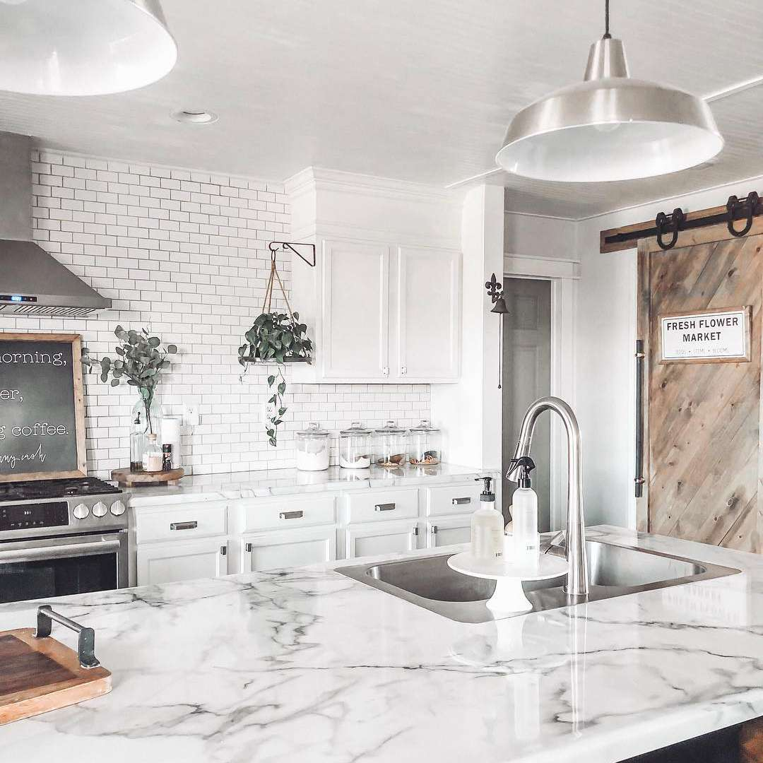 Kitchen with marble laminate countertops