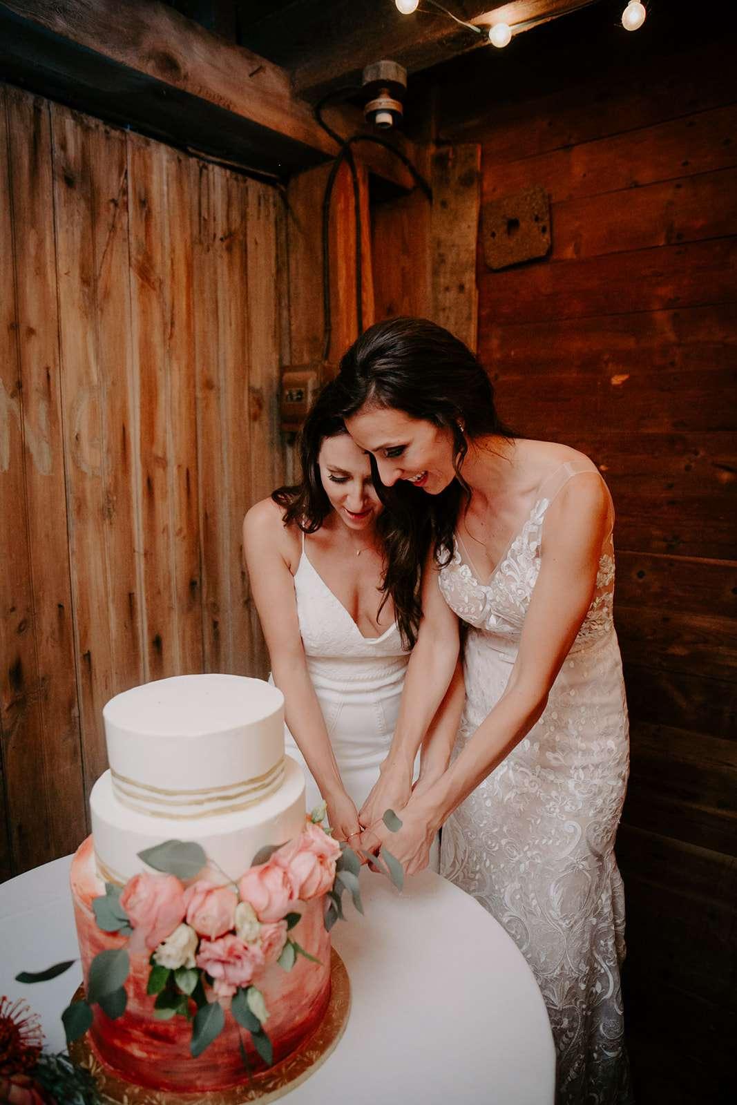 Two brides cutting their wedding cake.