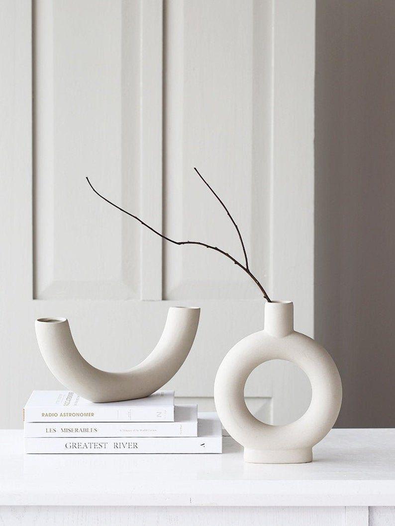 Ceramic White Donut Vase